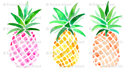 Mixed Watercolor Pineapples