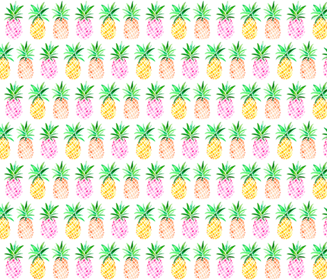 Mixed Watercolor Pineapples fabric by emeryallardsmith on Spoonflower - custom fabric