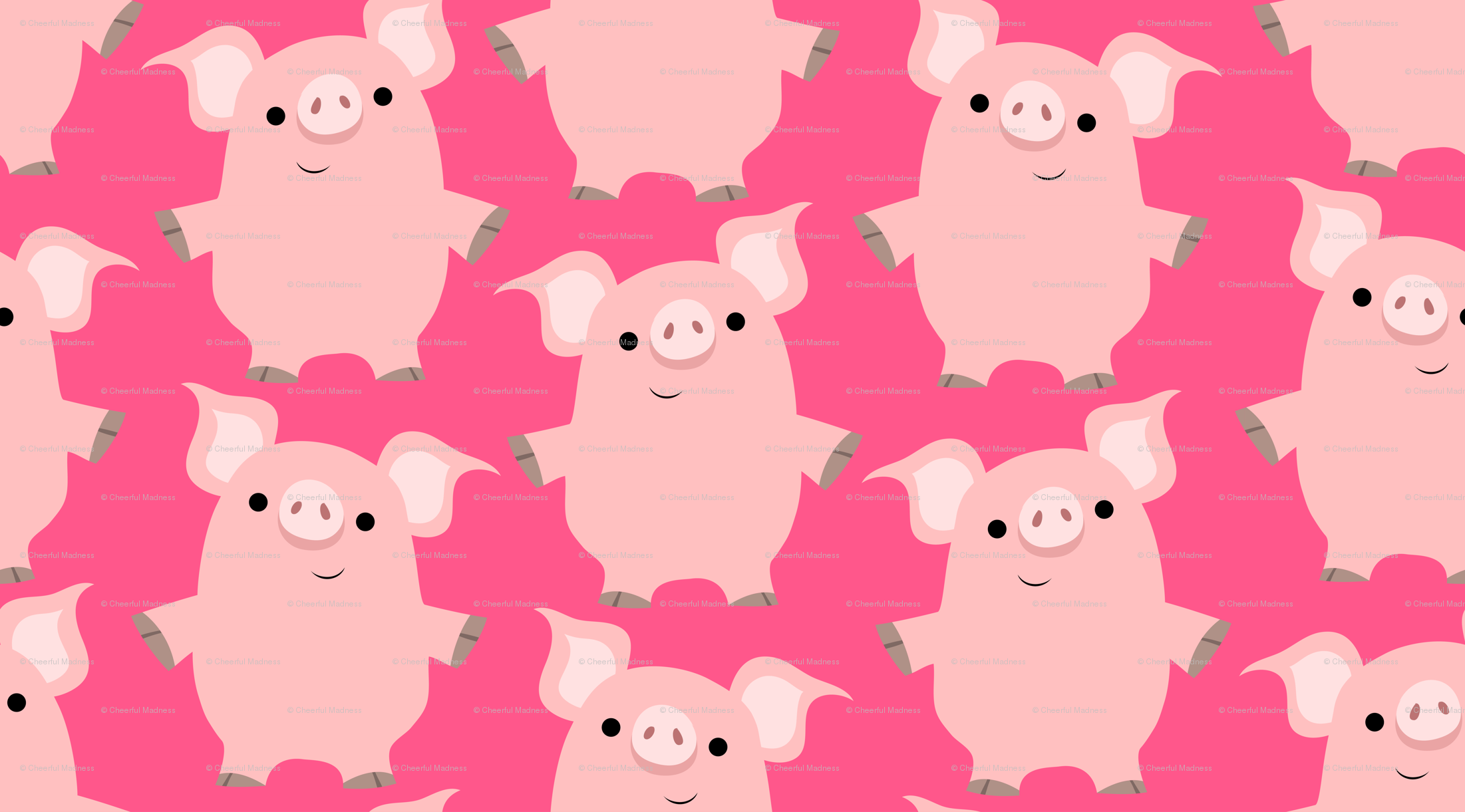 Cute Friendly Cartoon Pigs By Cheerful Madness Wallpaper