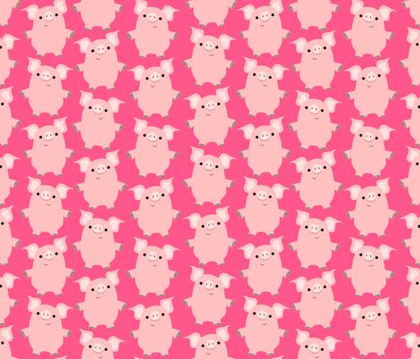 Cute Friendly Cartoon Pigs by Cheerful Madness!! fabric by cheerfulmadness_cartoons on Spoonflower - custom fabric