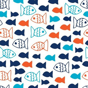 Cute blue and orange fish illustration for boys