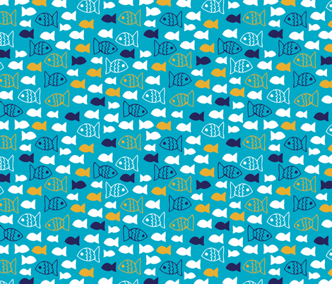 Cute little fish in blue and orange fabric by littlesmilemakers on Spoonflower - custom fabric
