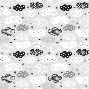 geometric pastel sleepy gray black and white sky cloud pattern