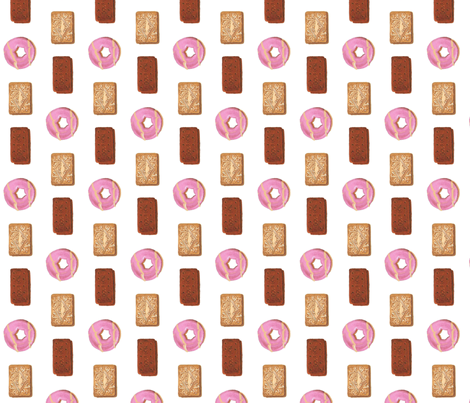 Custard cream, bourbon and Party Rings biscuits fabric by interrobangart on Spoonflower - custom fabric