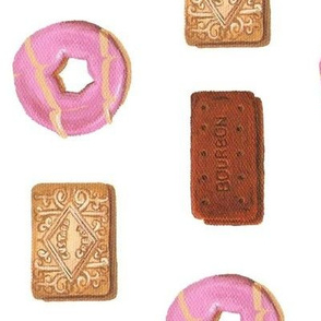 Custard cream, bourbon and Party Rings biscuits