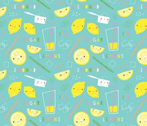 lemonade time aqua fabric by shindigdesignstudio on Spoonflower - custom fabric