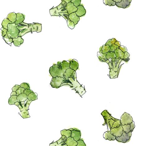 Broccoli - open fabric by crumpetsandcrabsticks on Spoonflower - custom fabric