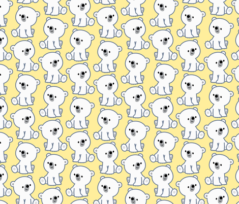 Sweet Little Polar Bears Yellow by Cheerful Madness!! fabric by cheerfulmadness_cartoons on Spoonflower - custom fabric