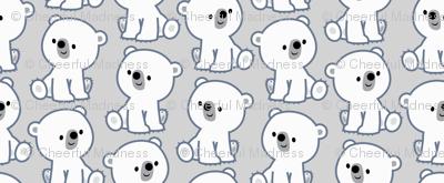 Cute Cartoon Baby Polar Bears Grey by Cheerful Madness!!