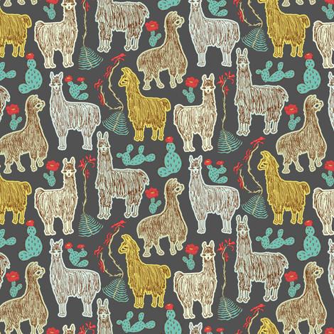 Shaggy Dark Llamas fabric by angelastevens on Spoonflower - custom fabric