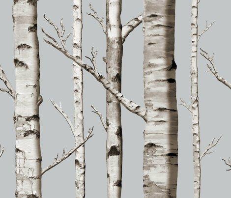 Birch Grove In Whitestone Wallpaper Willowlanetextiles