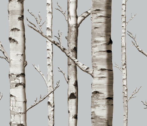 Birch Grove in Whitestone fabric by willowlanetextiles on Spoonflower - custom fabric