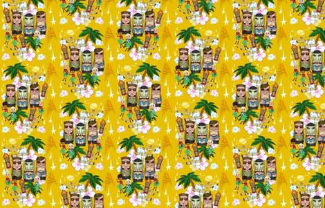 Tiki Trek - Yellow fabric by lartist on Spoonflower - custom fabric