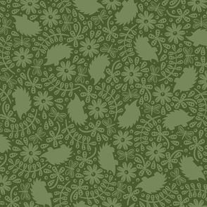 Hedgehogs in the Leaves (Olive Green)