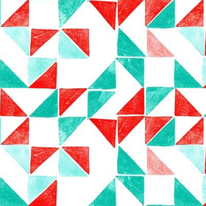 Stamped triangles in red and green