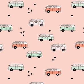 Cute summer camper van bus camping trip illustration hippie love for girls