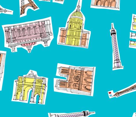 Paris Landmarks fabric by tuppencehapenny on Spoonflower - custom fabric
