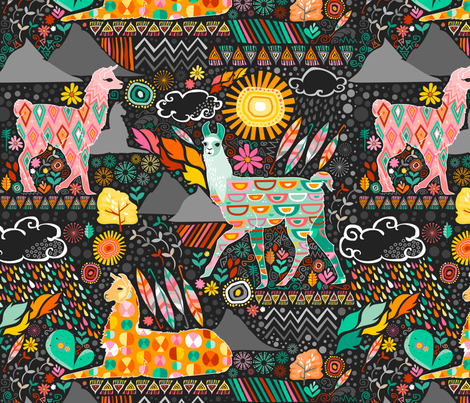 Llamas on Grey (Large) fabric by creativetaylor on Spoonflower - custom fabric