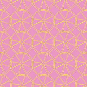 Lemon slices on pink