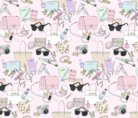 What's in my Bag Pink fabric by emmakisstina on Spoonflower - custom fabric
