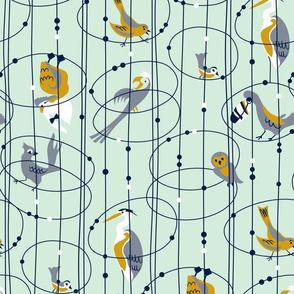 Bird-O-Rama - Mustard and Mint