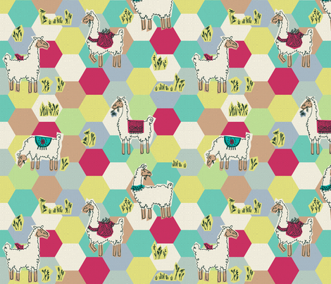 Hexa-Llama fabric by beckarahn on Spoonflower - custom fabric