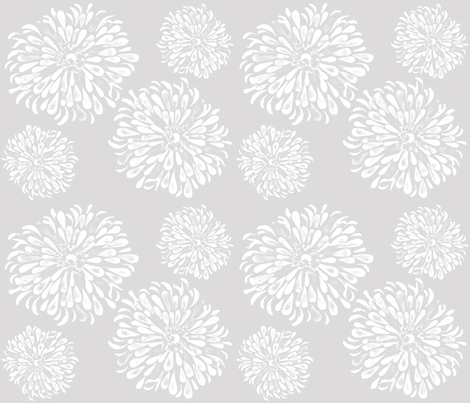 Zinnias grey fabric by mypetalpress on Spoonflower - custom fabric
