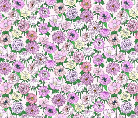 Big Blooms Pastels on Blush fabric by emmakisstina on Spoonflower - custom fabric