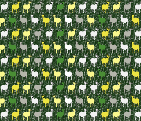 green_goat_frolics_in_the_falling_snow fabric by glimmericks on Spoonflower - custom fabric