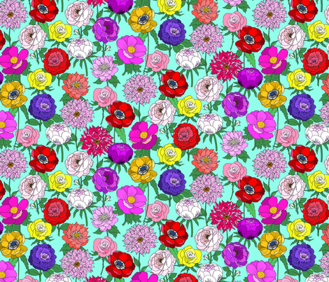 Big Bright Blooms on Blue fabric by emmakisstina on Spoonflower - custom fabric