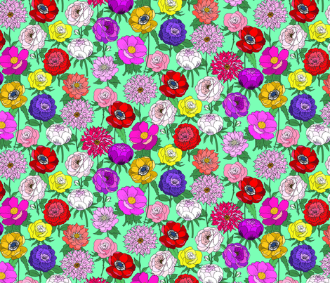 Big Blooms Bright on Teal fabric by emmakisstina on Spoonflower - custom fabric