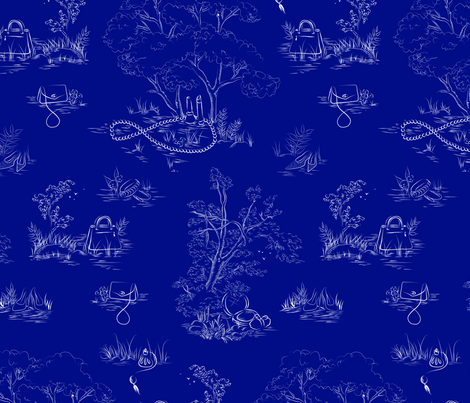 fashion toile white on navy fabric by emmakisstina on Spoonflower - custom fabric