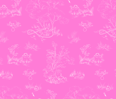 fashion toile white on pink fabric by emmakisstina on Spoonflower - custom fabric