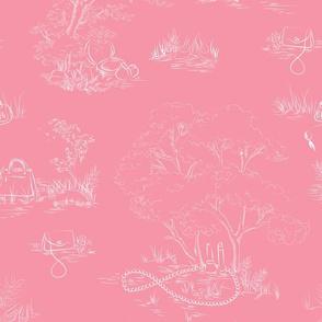 fashion toile white on pink