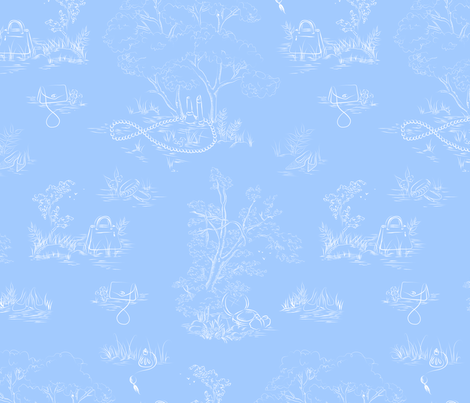 Fashion Toile White on Blue fabric by emmakisstina on Spoonflower - custom fabric