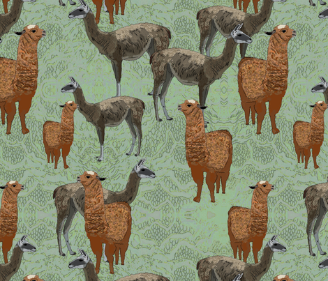 Lamas fabric by linsart on Spoonflower - custom fabric