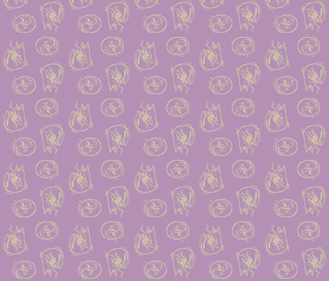 Mauve Cats Twin Scatter fabric by nyava on Spoonflower - custom fabric