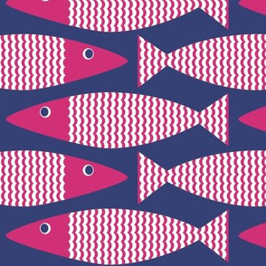 Wavy Bass - Navy Pink