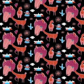 Shorn Llama, small scale, black blue orange pink orchid pink