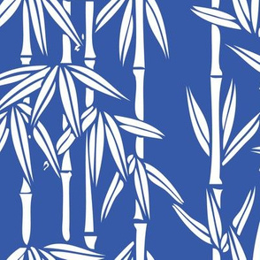 Bamboo Rainfall in China Blue/Seashell White