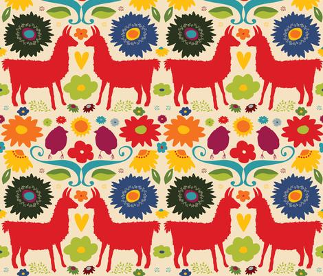 Llama Brightfolk fabric by onelittleprintshop on Spoonflower - custom fabric