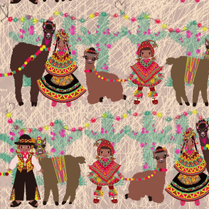 Llamas and little children from Peru