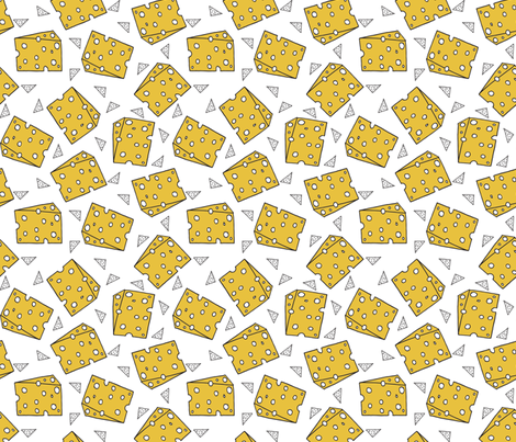 cheese fabric // novelty food fabric print for craft projects  fabric by andrea_lauren on Spoonflower - custom fabric