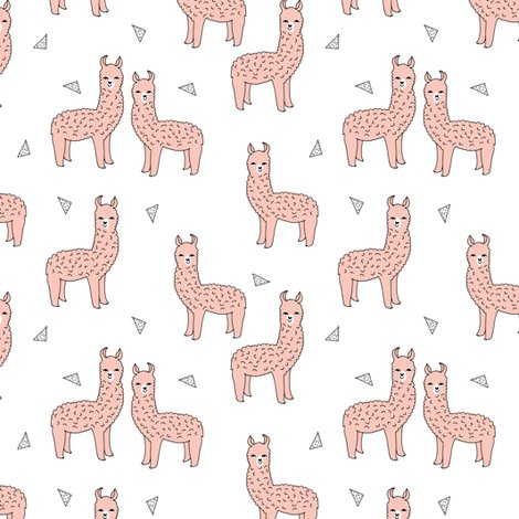 Alpaca pink alpaca fabric cute llama print pattern for Cute baby fabric prints