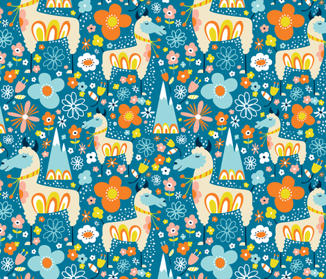 Lovely Llamas - Large Scale Blue & Orange fabric by heatherdutton on Spoonflower - custom fabric