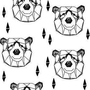 bear head // geometric bw bear head black and white geo bear head bear fabric