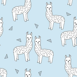 alpaca // baby blue alpaca llama fabric cute design llamas fabric