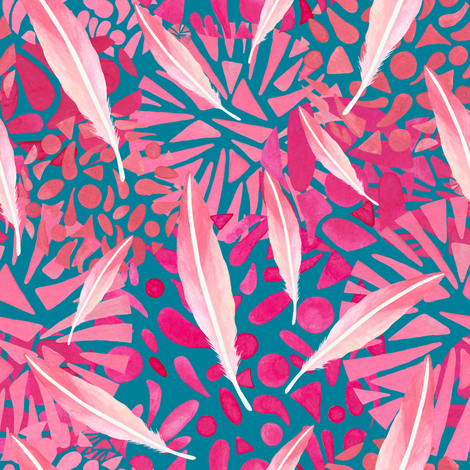 Flamingo Feather Flock fabric by christinemay on Spoonflower - custom fabric