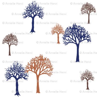 Navy Rust Brown Trees