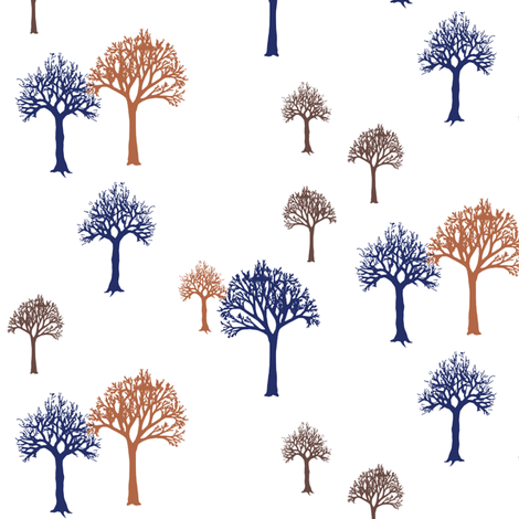 Navy Rust Brown Trees fabric by mrshervi on Spoonflower - custom fabric